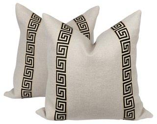 cream greek key pillows pair