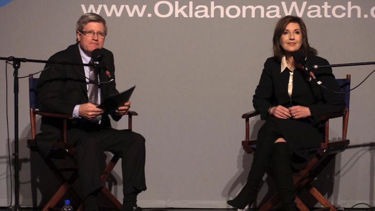 """Superintendent of Public Instruction Joy Hofmeister fielded questions from Oklahoma Watch Executive Editor David Fritze and audience members at an """"Oklahoma Watch-Out"""" forum on March 3."""