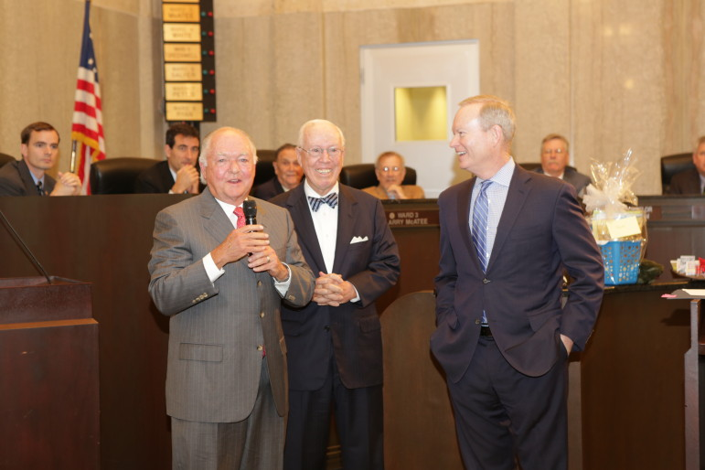 Former Mayor Ron Norick, left, makes a presentation with former mayor Andrew Coats and current Mayor Mick Cornett.