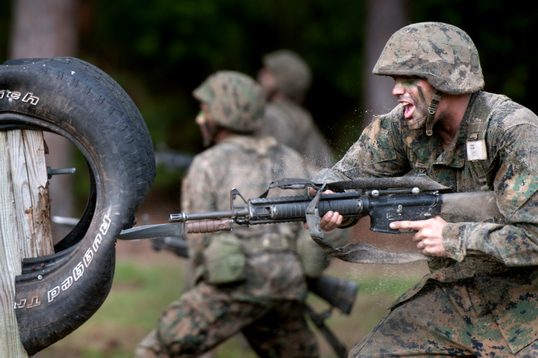 Marine recruits go through the bayonet assault training course in Parris Island, S.C., in May 2011.