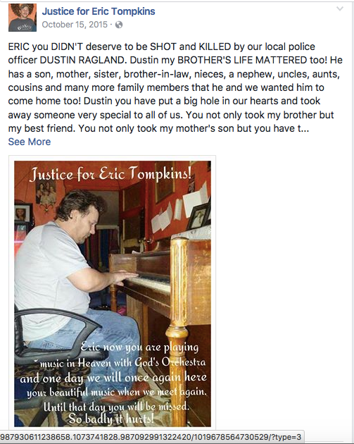 """A posting on the Facebook page, """"Justice for Eric Tompkins,"""" with a photo of Tompkins."""