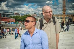Bilde av Espen Leinæs og Dag Nordby på Operaen i Bjørvika