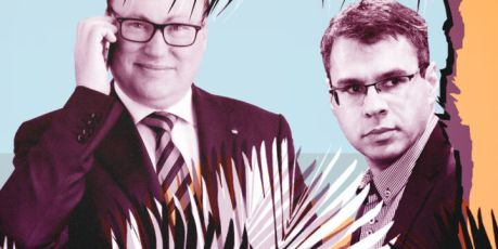 Grzegorz Bierecki oraz bracia Jacek i Michał Karnowscy. Fot. Agencja Gazeta. Il. OKO.press
