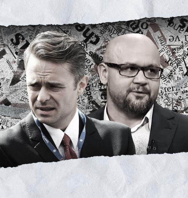 Adam Hofman i Sławomir Jastrzębowski na tle fragmentów gazet