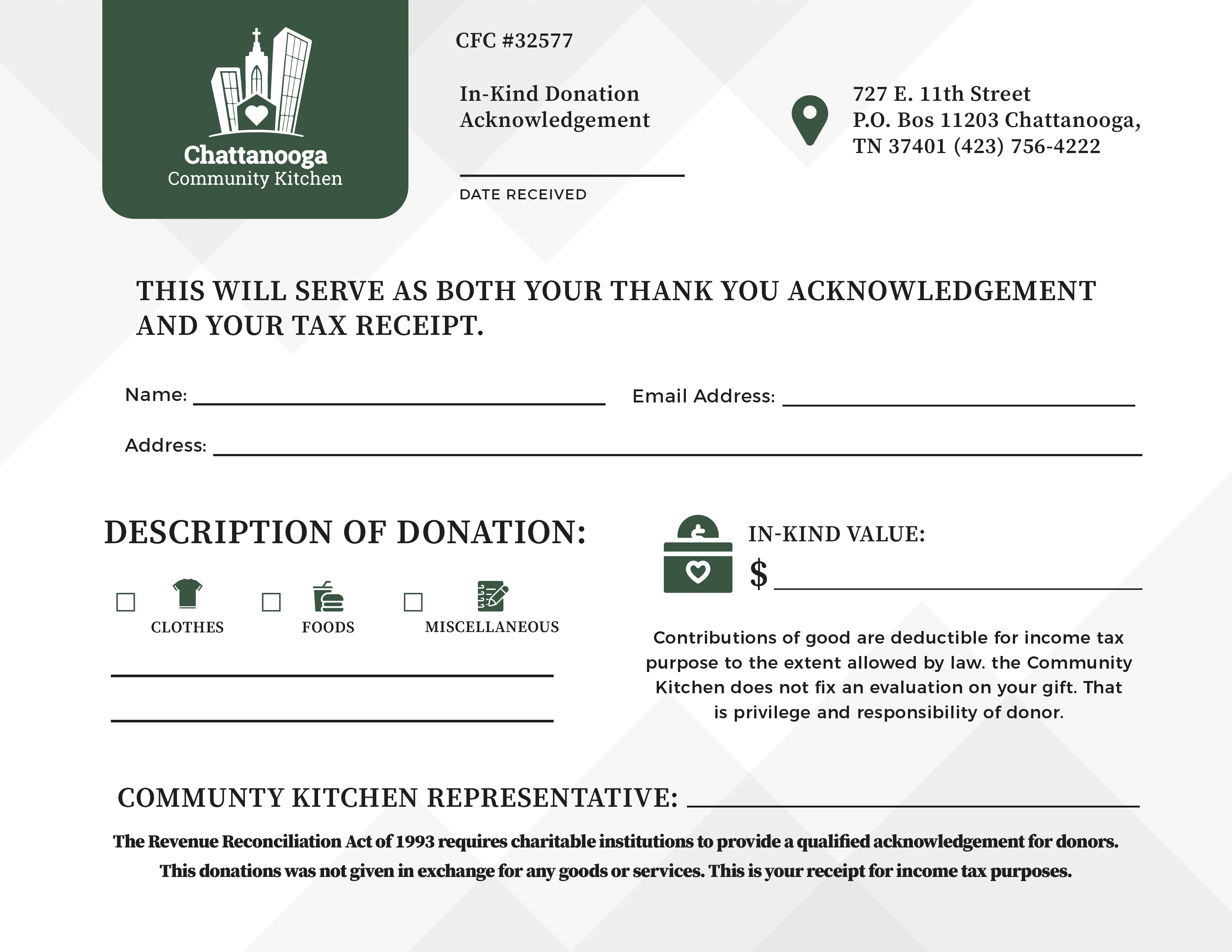 Chattanooga Community Kitchen - In Kind Donation Receipt Layout