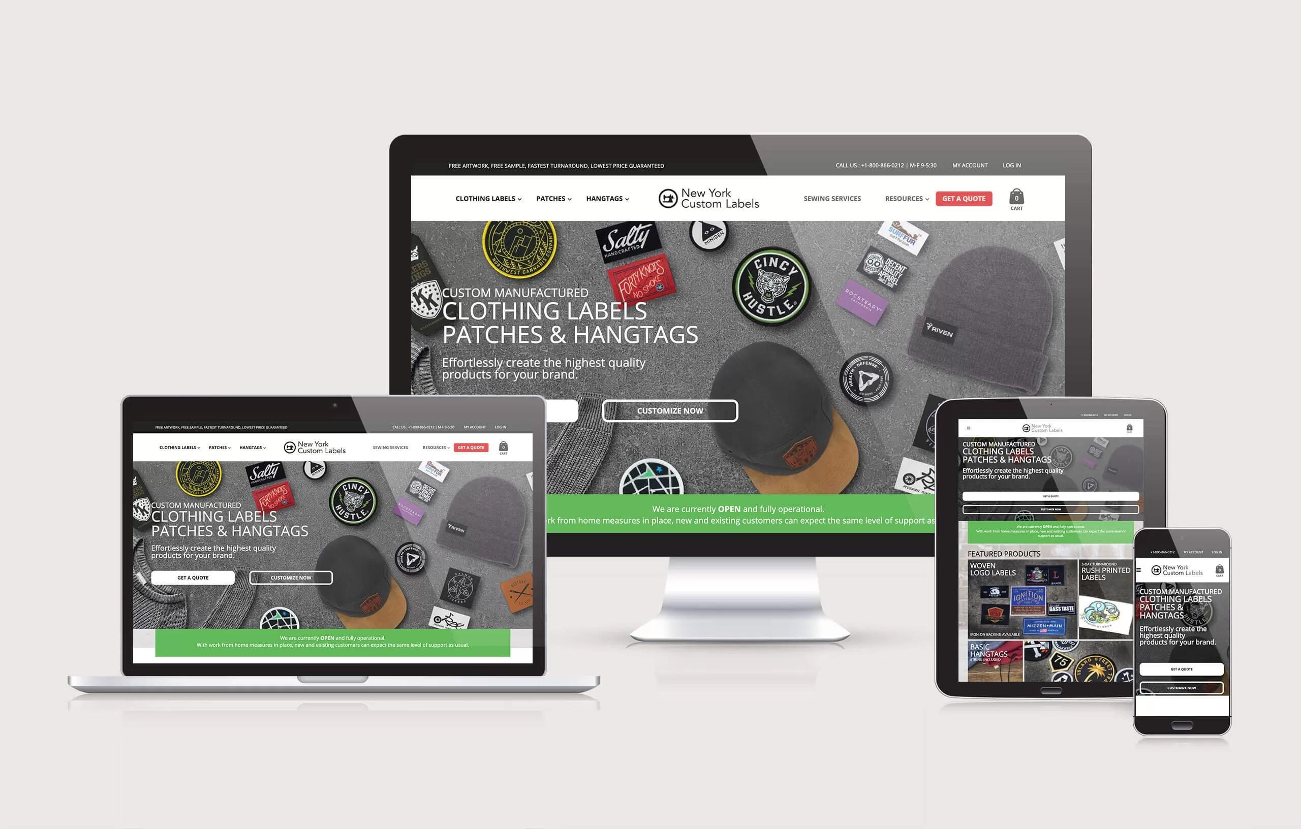 New York Custom Labels - Website Layout by Ok Omni