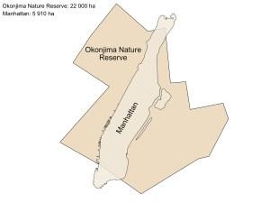 okonjima nature reserve size comparison to Manhatten