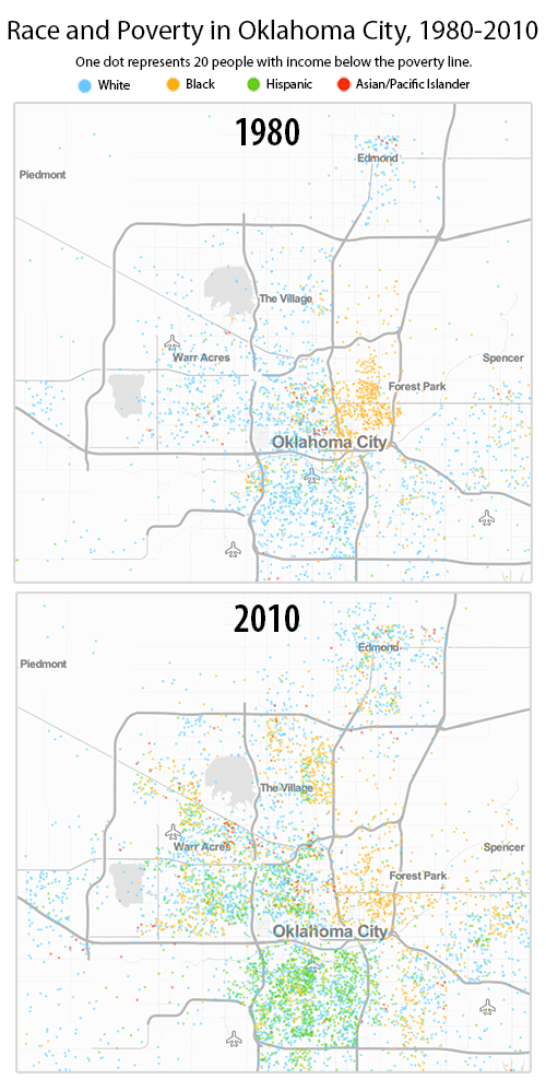 The Changing Map Of Poverty And Race In Oklahoma - Oklahoma city map