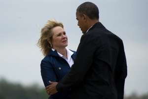 President Barack Obama greets Governor Mary Fallin at Tinker Air Force Base.