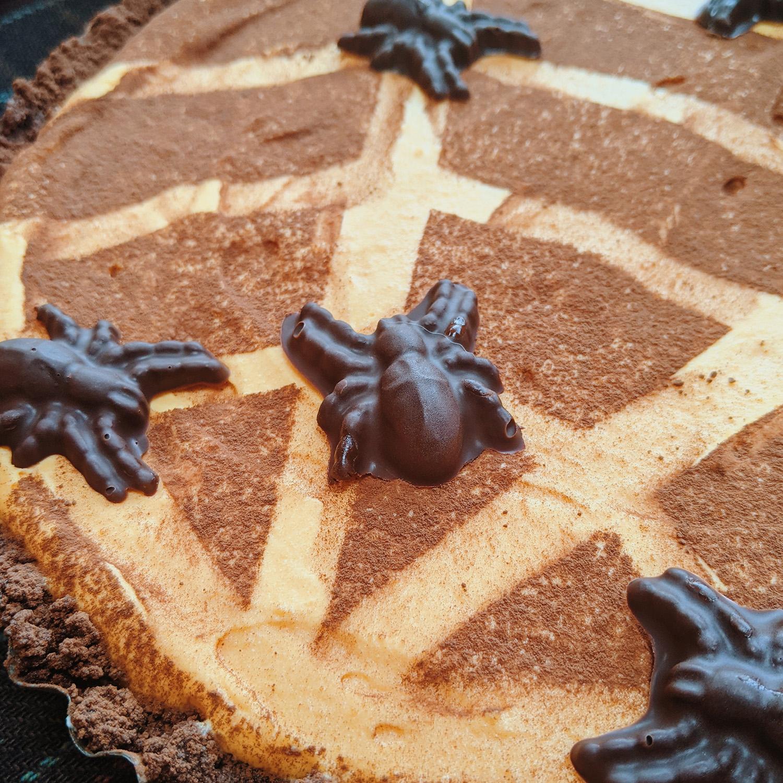 Halloween kwarktaart chocolade spinnen