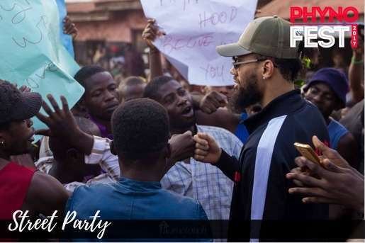Phyno and his fans at the street party of Phynofest.