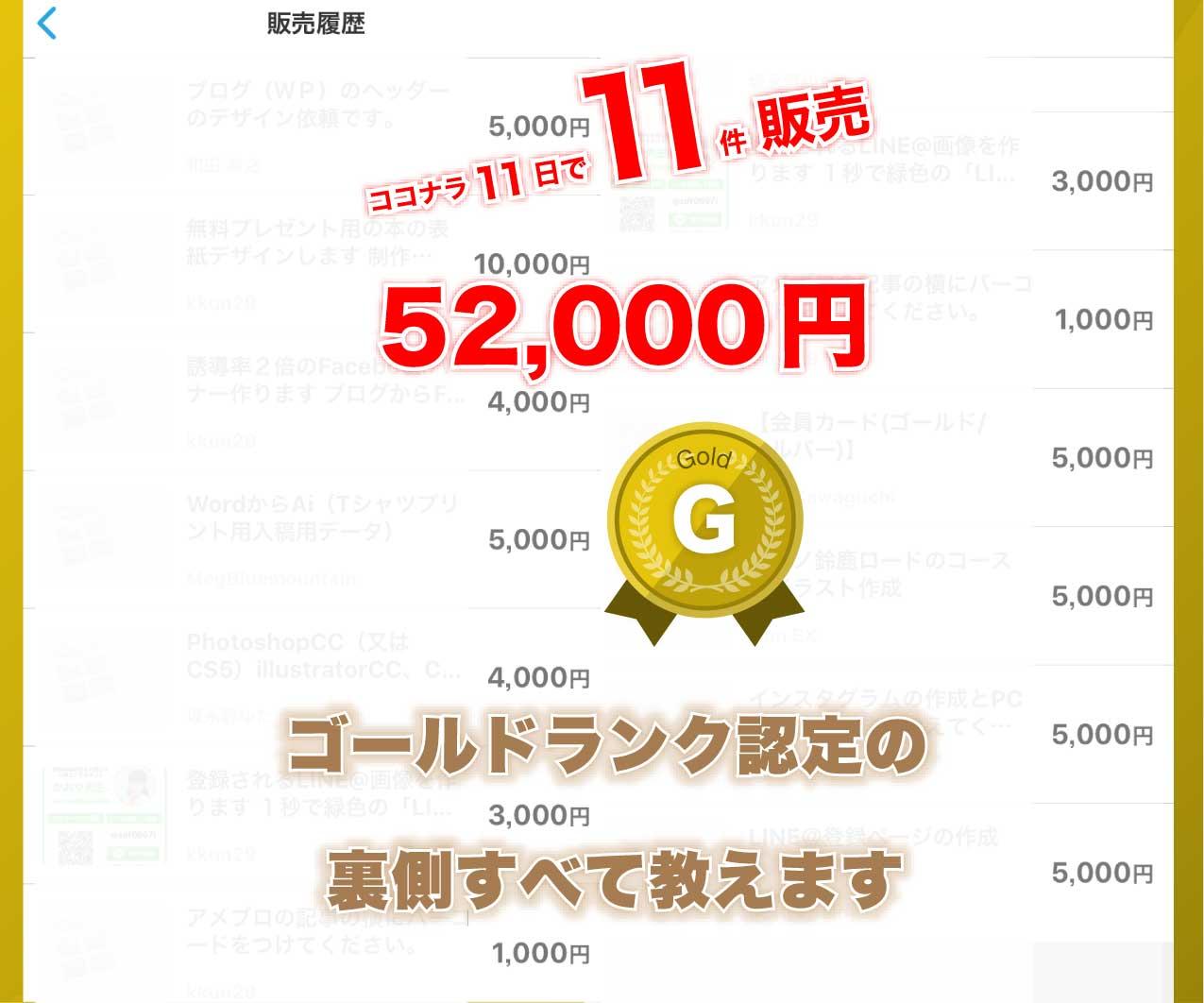 ココナラ11日で5万円