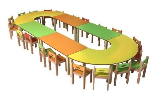 07 2 adet U 4 adet dikdörtgen kreş masası