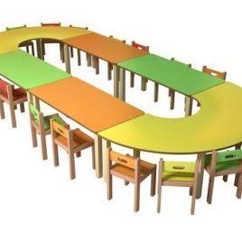 KRM-07    2 adet U 4 adet dikdörtgen kreş masası