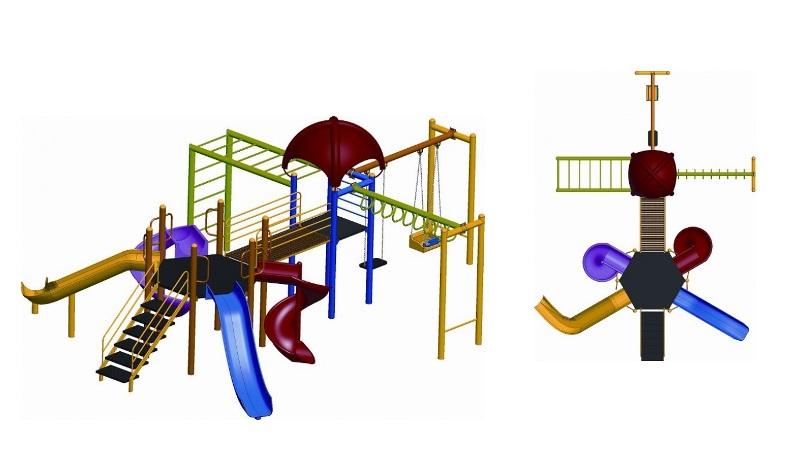OPC-04 bir kare, bir altıgen kuleli dört kaydıraklı iki tarzan merdivenli, iki salıncaklı oyun grubu