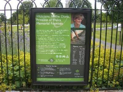 The Diana Princess of Wales Memorial Fountain 説明板