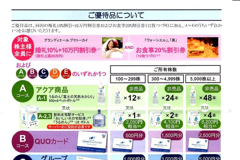 TOKAIホールディングス株主優待2019年9月