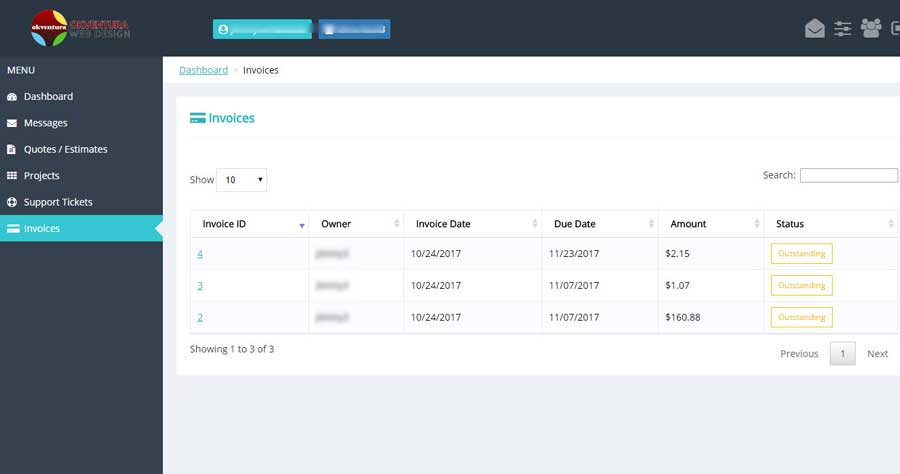 Support-Portal-Client-Dashboard-Invoices-Panel