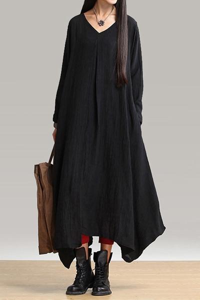 Luźna sukienka z lnu lniana