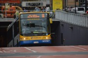 City bus emerging from underground tunnel (1)