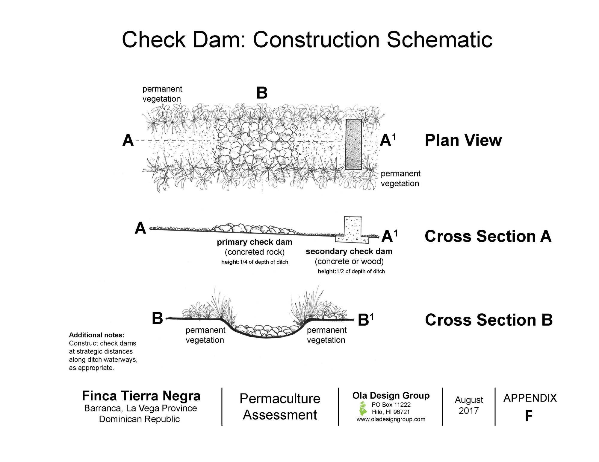 hight resolution of tierra negra check dam construction schematic