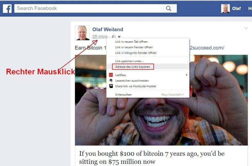 Facebook Post verlinken