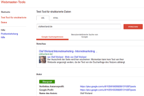 Test Tool in Webmasterzentrale für Google Author Rank