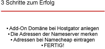 Namecheap & Hostgator DNS verknüpfen