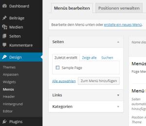 Menü 'Links' entfällt bei WordPress 3.9 -> Design/Menüs
