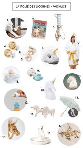 licorne sélection liste objet déco