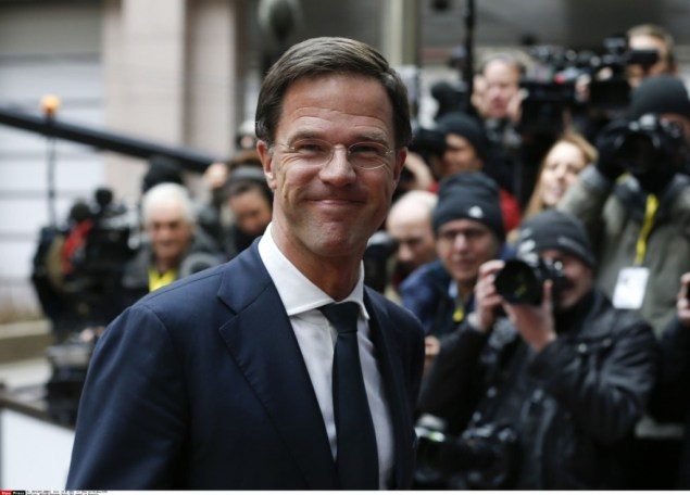 (160218) -- BRUSSELS, Feb. 18, 2016 (Xinhua) -- Dutch Prime Minister Mark Rutte arrives at a two-day European Union summit at EU headquarters in Brussels, Belgium, Feb. 18, 2016. (Xinhua/Ye Pingfan) /CHINENOUVELLE_1122.0333/Credit:Zhou Lei/Xinhua/SIPA/1602191706