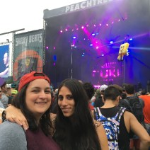 Victoria and Melanie getting ready for Major Lazer.