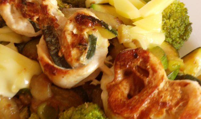 Cukkinival tekert csirkemell nyárson, grill