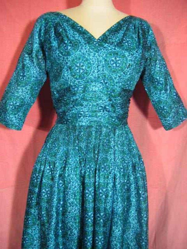 1950s teal silk dress