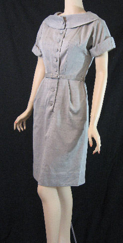 gray cotton 1950s dress