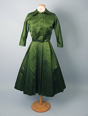 green satin dinner suit