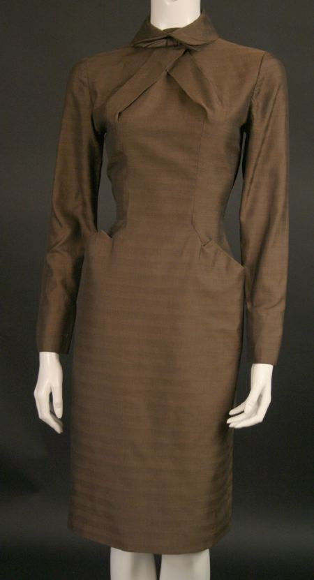 brown severe dress