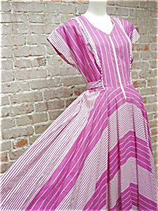 pink stripey housedress