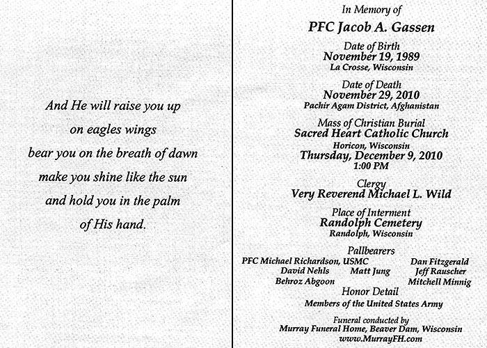 Services for PFC Gassen, December 9, 2010