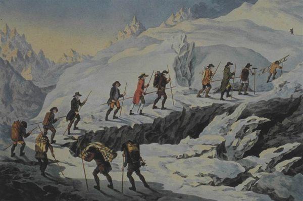 Acquarello di Marquardt Wocher (1790), salita al Monte Bianco di Bénédict de Saussure (1787)
