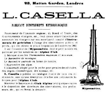 Pubblicità della ditta Casella sul Bulletino Trimestrale del Club Alpino Italiano