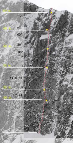 """Scema della via """"Questo gioco di fantasmi"""" (Cimon di Palantina 2190 m, parete N-O, gruppo Col Nudo – Cavallo), aperta il 29.01.2011 (Ph © B. Bona)"""