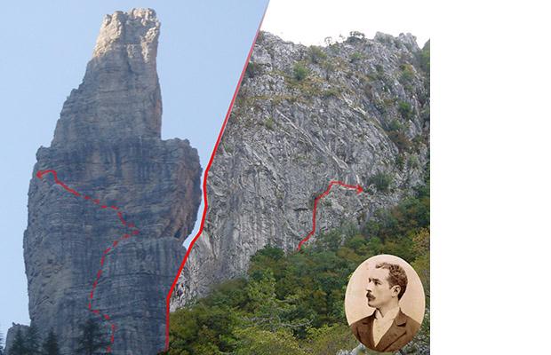 """La Fessura Cozzi sul Campanile di Val Montanaia ed il suo """"prototipo"""" sul Crinale della Val Rosandra"""
