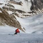Incontro con lo scialpinista mentre scende dal canale Moriggia-Acitelli