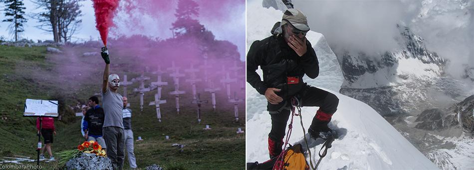 """sx: Alberto Peruffo, The Burning Cemetery (Bocchetta Paù, Asiago), una delle sue recenti e già celebri-monitorate """"consegne di immaginario"""" (ph. A. Colombara); dx: Sikkim, Himalaya, maggio 2014. Primo sguardo sulla Porta della R.P., 6036 m, sul bordo estremo del South Simvo Glacier, di fronte alla Cresta Zemu del Kanchenzonga. Sotto, il Tonghsiong Glacier. Ghiacciai esplorati per la prima volta dalla Zemu Exploratory Expedition guidata dall'autore (ph. Francesco Canale k2014.it)"""