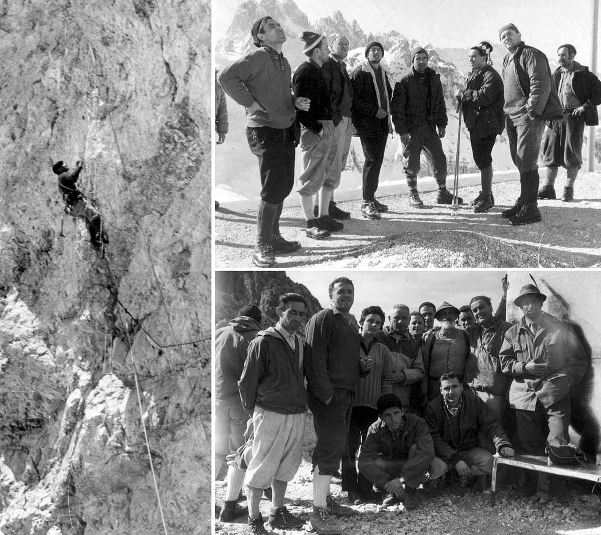 Loris De Moliner: sopra con Armando Tama Da Roit, Toni Serafini Croda di Falcade, Roberto Sorgato Giorgio Ronchi - sotto con alpinisti della Schiara - a sx in arrampicata (archivio Loris Santomaso)