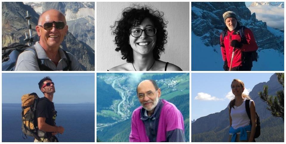 In alto: Andrea Macchiavelli, Cristina Dalla Torre e Mario Fiorentini. In basso: Eric Girardini, Gianfranco Valagussa e Silvia De Fanti