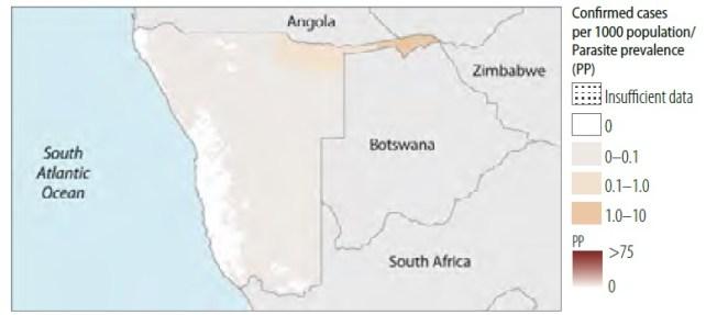 namibia casos malaria 2014