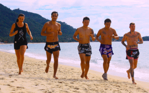 Fighters at Lamai training camp in Thailand putting in the road work.