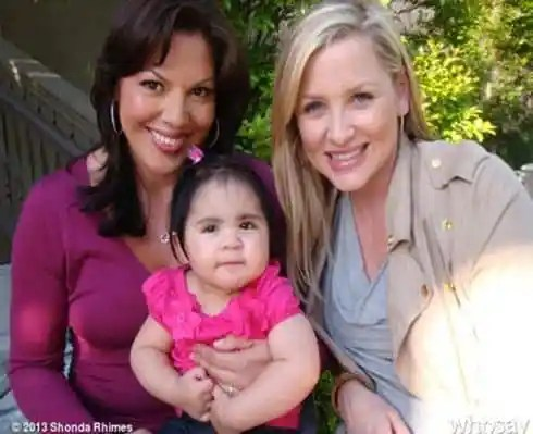 Sara Ramirez and Jessica Capshaw with baby Sofia
